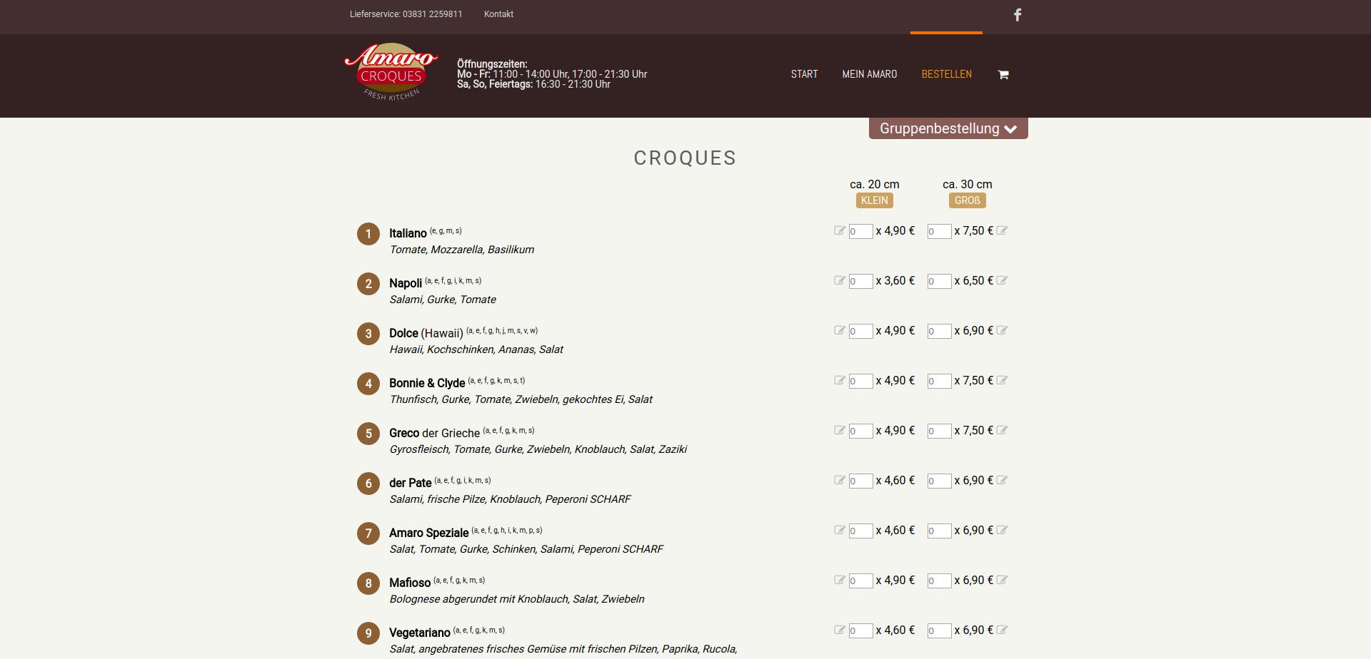 Amaro Croques Gruppenbestellung Datenschutz Stralsund